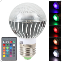 E27 7020 RGB LED Lamp 3W AC 85-265V 120 Degree Bulb 16 Colors with Remote Control