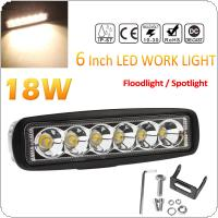 6 Inch 12V / 24V 2000K 2150LM 18W Waterproof LED Work Light Bar Fog Light for Truck / Trailer / SUV / ATV / OffRoad