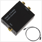 Digital Optical Coaxial Toslink Signal to Analog RCA L/R Audio Converter Adapter + Fibre Optic Cable