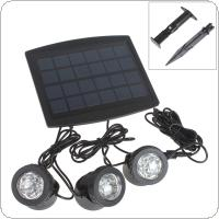 3 x 6 RGB Color LEDs Solar Powered Super Bright Lamps + 1 x Solar Panel for Garden / Pool