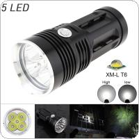 1500LM 5 x XML T6 LED Waterproof Outdoor 3-Mode Flashlight Torch Lamp for Hunting / Camping