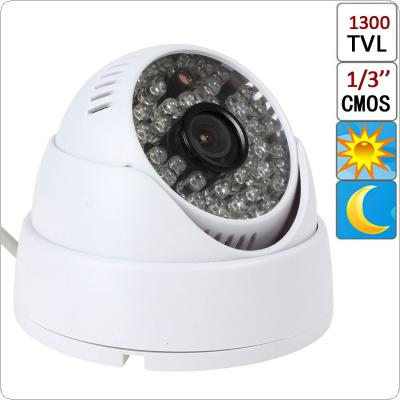 "1/3"" CMOS 1300TVL 48 IR LEDs 3.6mm CCTV Video Surveillance Dome Night Security Camera"