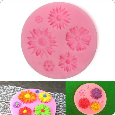 Pink Silicone Repeated use Flower Mold Cake Decorating Chocolate Sugar Craft Mould