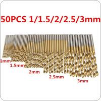 50Pcs/Set HSS Titanium Coated High Speed Steel Drill Bit 1 / 1.5 / 2 / 2.5 / 3mm