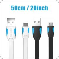 Vention 0.5M Mobile Phone Cable Flat Micro USB Cable 2.0 Data Sync Charger Cable Fit for Samsung / HTC