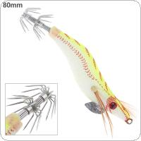 Shrimp Fishing Lures Luminous Spoon and Minnow 80mm 7.4g Artificial Squid Fishing Baits 2# Hook