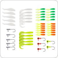 35pcs Soft Worm Fishing Bait Lure + 10pcs Lead Jig Head Hooks High Simulation Fishing Combination Fishing Bait Suit
