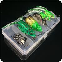 "Fishing Lures Suit Contain 5pcs High Simulation Frog & Rat Baits + 2pcs Wire Line + 5pcs ""B"" Type Pin +1 Durable Lure Box Super Value Suit"