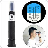 Hand Held 2 In 1 Salinity Refractometer Aquarium & Seawater - Dual Scale with Pipette and Mini Screw Driver Support Manual Focusing