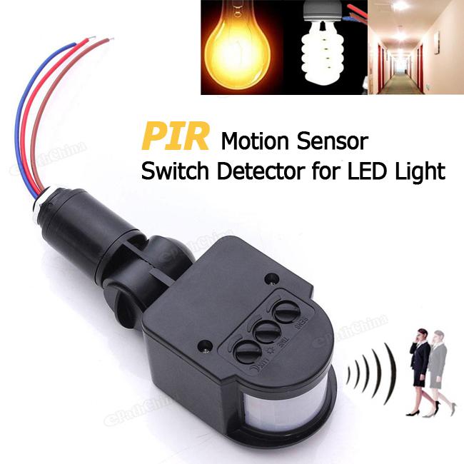 110-220V LED Outdoor Infrared PIR Motion Sensor Detector Wall Light Switch