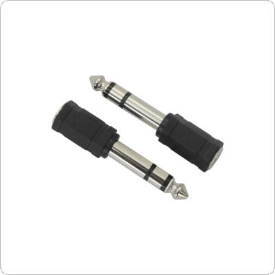 2PCS Black Color 6.5mm Male to 3.5mm Female MIC / Audio Adapter