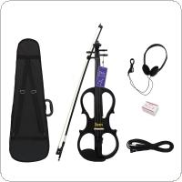 Stylish Electroacoustic 4/4 Maple Violin Fiddle Black Brown Optional with Case Headset Cable Rosin