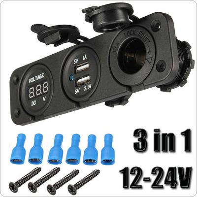 12V/24V Car Blue Dual USB Charger Adapter Digital Voltmeter Cigarette Lighter Socket LED Light Power Outlet For Mobile iPod