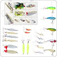 20pcs/lot Metal Sequins Spinner Bait Fishing Lure Kit Luminous Hard Bait with Box