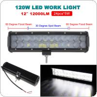 12Inch 120W LED Flood/Spot Combo Work Light Bar Offroad Driving 4WD Truck ATV