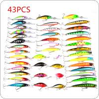 43pcs Highly Simulated Fishing Lures Set Mixed 6 Models Minnow Baits Crank Lures Bass Carp Perch Mix Fishing Bait