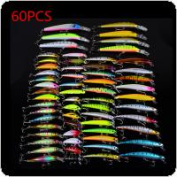 60pcs/lot Assorted Fishing Lures Minnow Lure Crank Bait Mixed Tackle 8 Models