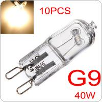 10pcs G9 40W Halogen Light Bulbs Long Life Capsule Lamps Warm White Clear Bulbs for Indoor