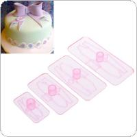 4PCS Cake Tool Bowknot Cake Mold Knot Cookie Cutter Press Mold Fondant Tool