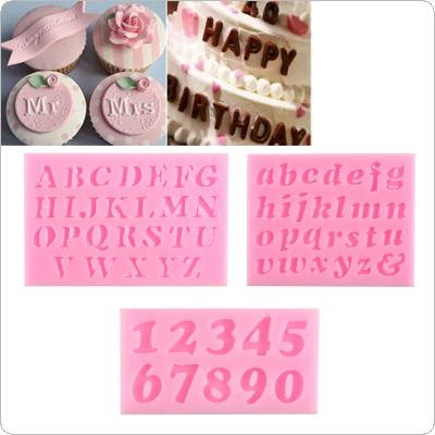 3PCS DIY 3D Letters Digital  Shaped Silicone Fondant Cake Decoration Moulds Chocolate Baking Tool