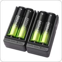 Skywolfeye 4pcs 5800mAh Li-ion 18650 3.7V Rechargeable Battery + 2pcs Smart Charger