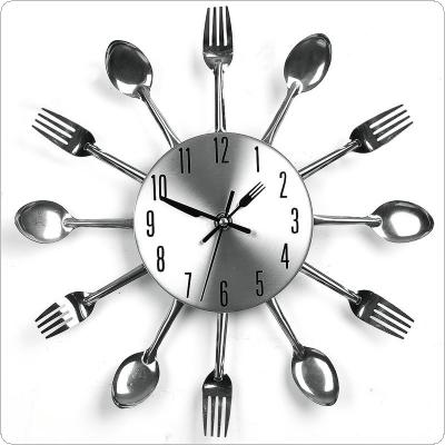 3D Home Decor Quartz DIY Wall Clock Kitchen Cutlery Clocks Horloge Watch