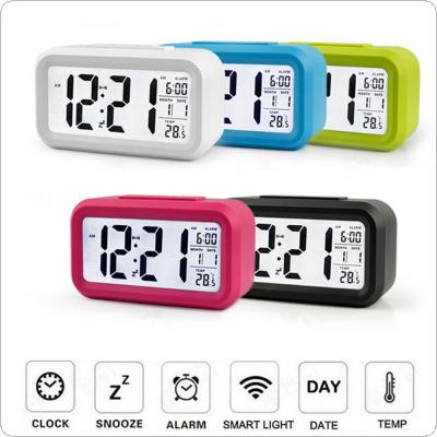 Digital Backlight LED Display Table Alarm Clock Snooze Thermometer Calendar Time