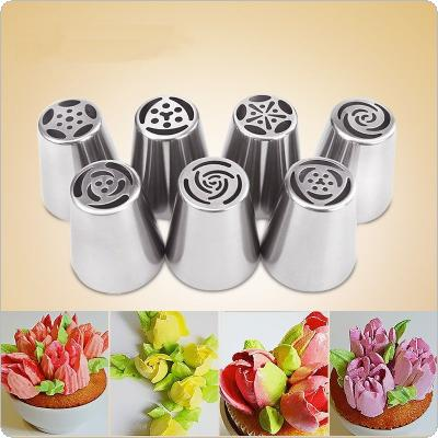7PCS Stainless Steel Nozzles Russian Tulip Icing Piping Pastry Decorating Tips Cake Cupcake Decorator Rose Kitchen Accessories