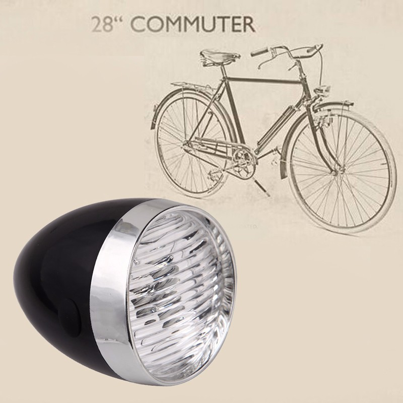 Retro Bicycle Bike 3 LED Front Light Headlight Vintage Flashlight Lamp