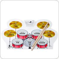 Silicone Electronic USB Roll Up Drum Kit with Drumsticks Foot Pedal Musical