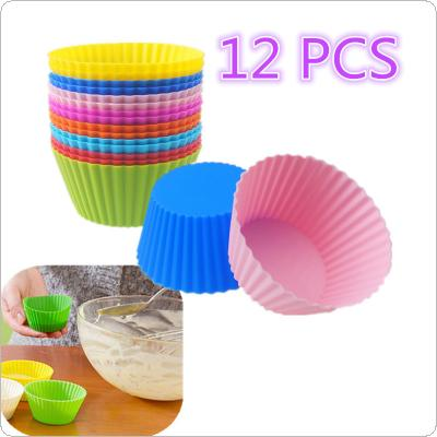12PCS Silicone Gel Round Cake Muffin Cupcake Liner Baking Cup Mold Colorful
