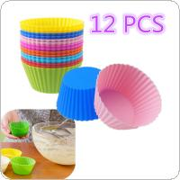 12PCS Platinum Silicone  Reusable Non-toxic Round Cake Muffin Cupcake Liner Baking Cup Mold Colorful  for Cupcake / Muffin / Pizza / Bread / Ice / Cake / Cookie