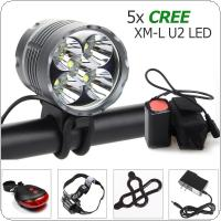 Waterproof 8000Lm 5 x XM-L U2 LED Front Bicycle Light Bike Headlamp Lamp Headlight+ 2 Laser 5 LED Rear Light