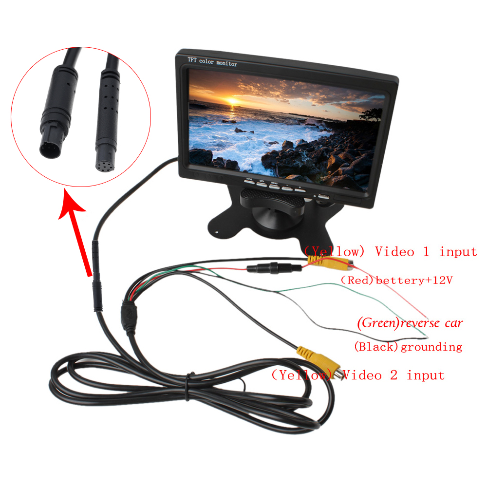 7 Tft Lcd Color 2 Video Input Car Rearview Headrest Monitor Dvd Vcr Monitor P 7658 on reverse camera wiring diagram