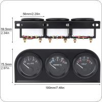 52MM 12V Triple Kit Water Temp Temperature Oil Pressure Voltage Gauge Meter with Sensor for Car