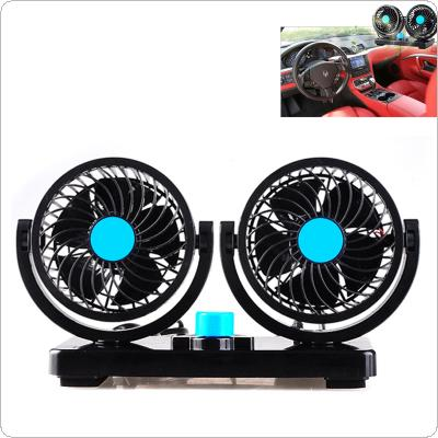 Mini Electric Car Two Head Fan Low Noise Summer Car Air Cooling Conditioner Fan 12V 360 Degree Rotating 2 Gears Adjustable