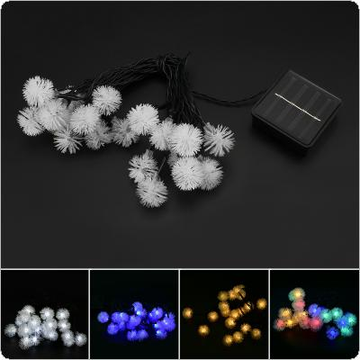 OriGlam Solar Powered 4.8m 20 LEDs Twinkling Chuzzle Ball String Lights Christmas Holiday Decoration Lamp for Garden Window Porch Lawn 4 Light Color Optional