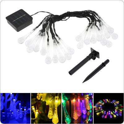 OriGlam 4 Light Color Solar Twinkling Glass Water Drop String Lights 15ft 20 LEDs Decorative Garden   Window Porch Lawn Fairy Lamp for Christmas Wedding Party