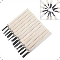 12pcs/set Professional Wood Carving Hand Chisel Knife Tool Set Woodworkers Gouges