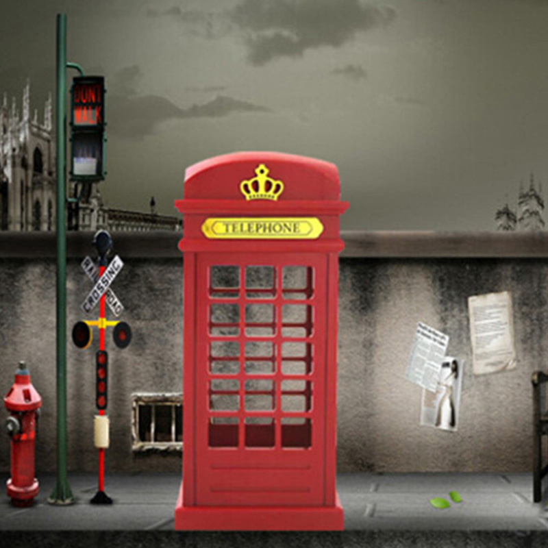 Retro London Telephone Booth Night Light USB Battery Dual-Use LED Bedside Table Lamp