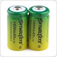 SKYWOLFEYE 2pcs 16340 CR123A LR123A 3.7V 1800mAh Rechargeable Li-Ion Battery