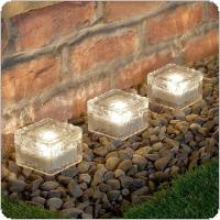 Solar Power LED Ground Crystal Glass Ice Brick Shape Outdoor Yard Garden Deck Road Lamp Light