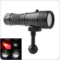 SecurityIng Wide 120 Degrees Beam Angle Scuba Diving Photography Video Flashlight 1500LM with 2x XM-L2(U4) White + 2x XP-E R5 Red LEDs