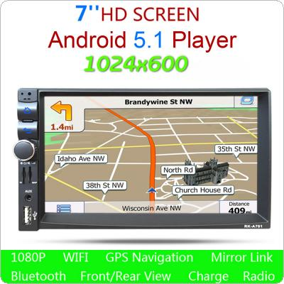 "ROM 16G RAM 1G Double 2Din HD Car Stereo GPS MP3 Player 7"" Bluetooth Radio For Android 4.4"