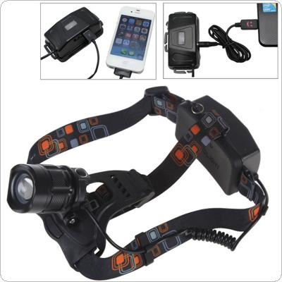 Rotary Focusing 700LM XM-L2 U2-1A LED 5 Modes Headlamp with DC / USB Interface for Charging / Power for Cellphone