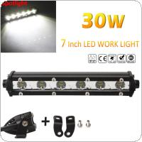 Slim 7inch 30W 3000LM Spot LED Single Row Work Light Bar OFFROAD DRIVING SUV
