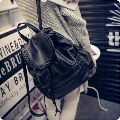 Fashion Women Girl Leather Black Backpack Rucksack Travel School Bag Shoulder Bags Satchel