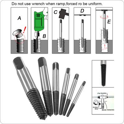 6Pcs Screw Extractor Easy Out Set Drill Bits Guide Broken Damaged Bolt Remover
