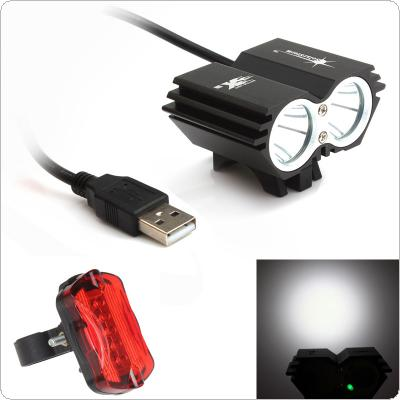 SolarStorm 5000LM X2 CREE XM-L T6 USB Waterproof LED Bicycle Headlight + Bicycle Rear Light