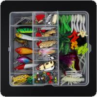 131pcs/lot Fishing Lures Kit Mixed Hard Lures Soft Baits Minnow Crank Popper VIB Sequins Wobbler Frog Lure with Box
